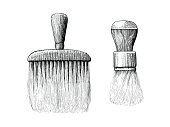 Vintage brush for barber and beauty hand drawing engraving style