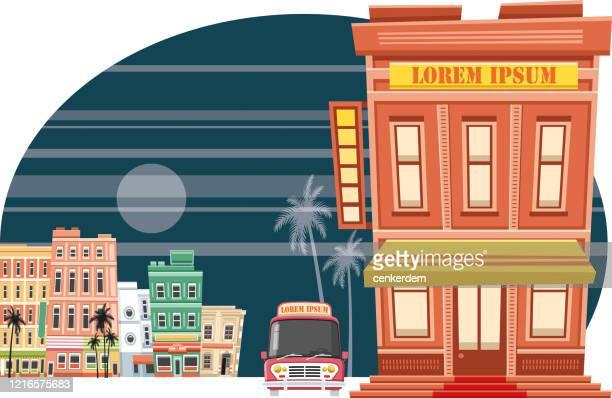 ilustrações, clipart, desenhos animados e ícones de edifício vintage - lorem ipsum