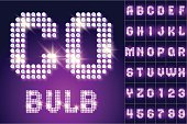 Vintage bulb lamp realistic font of 80s disco with stars