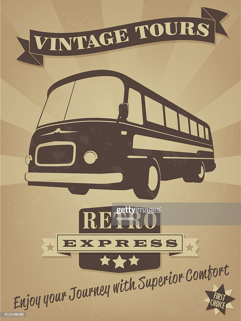 Vintage Bus Retro Advertising Poster