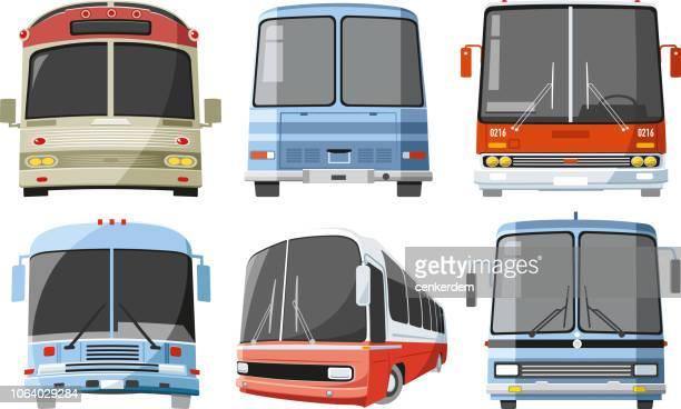 vintage bus set - bus stock illustrations