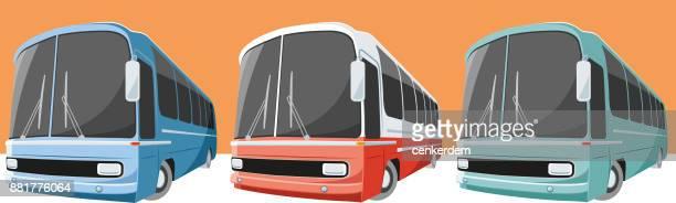 vintage bus set (vector) - bus stock illustrations