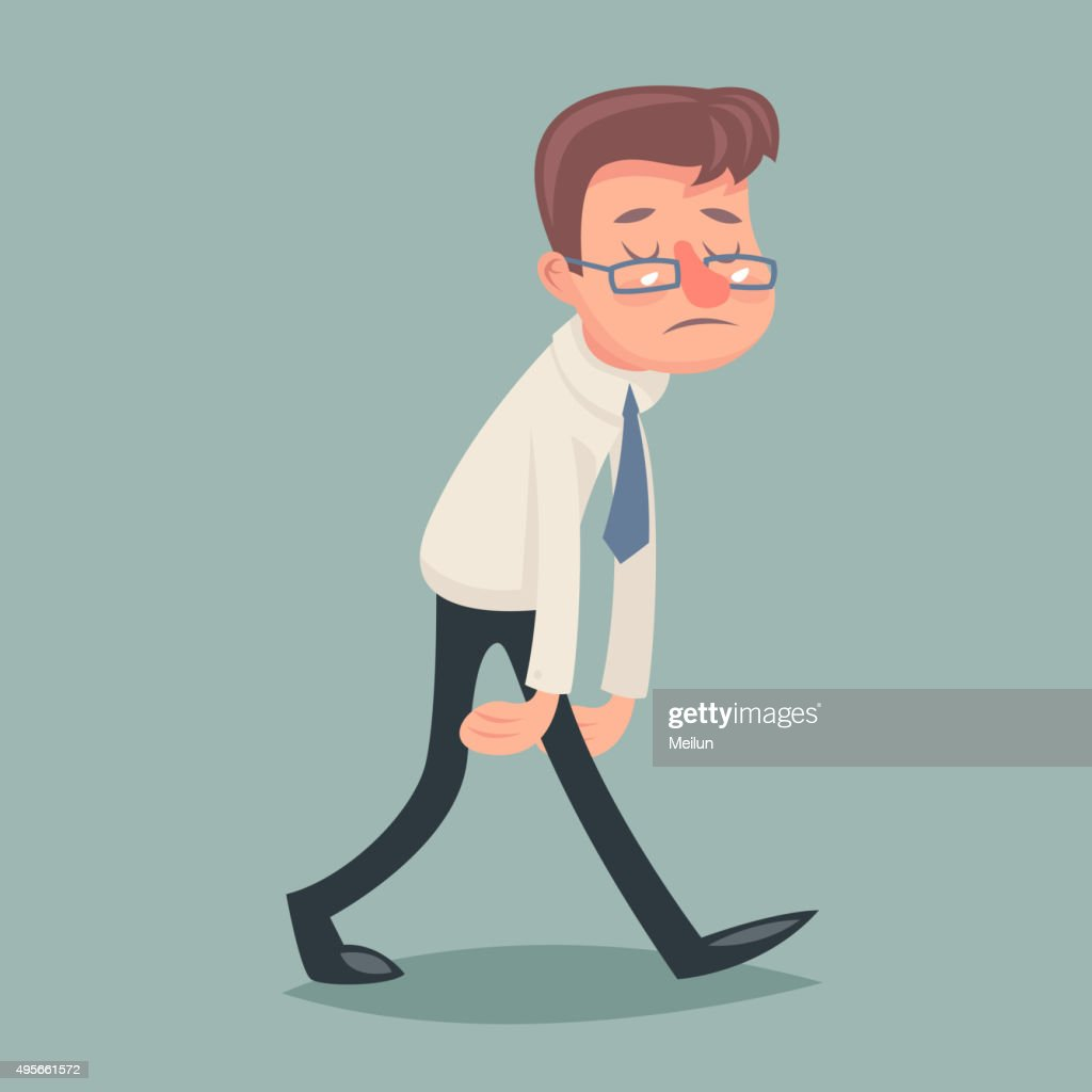 Vintage Businessman Walk Sad Tired Weary Character Icon on Stylish