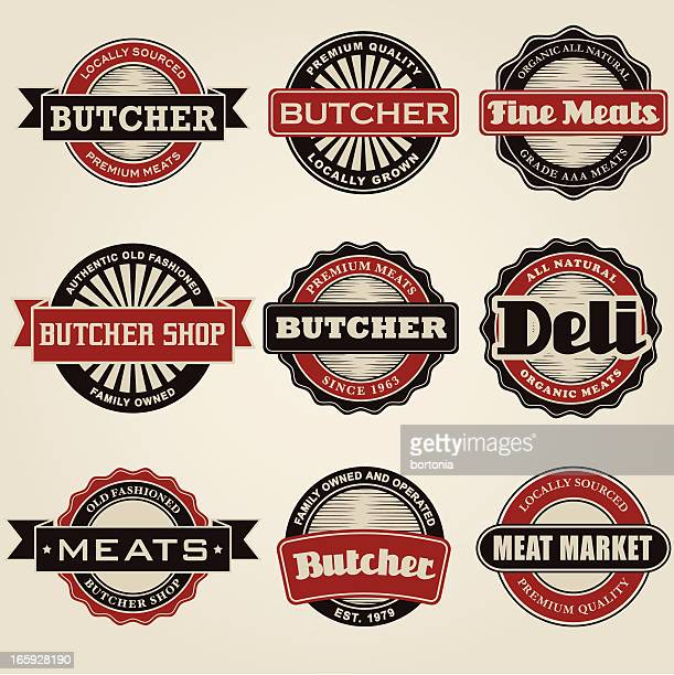 vintage butcher icon set - delicatessen stock illustrations