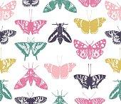 Vintage butterflies seamless pattern