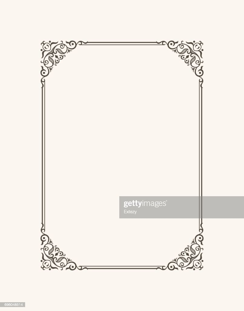 Vintage calligraphic frame. Black and white vector border of the invitation, diploma, certificate, postcard