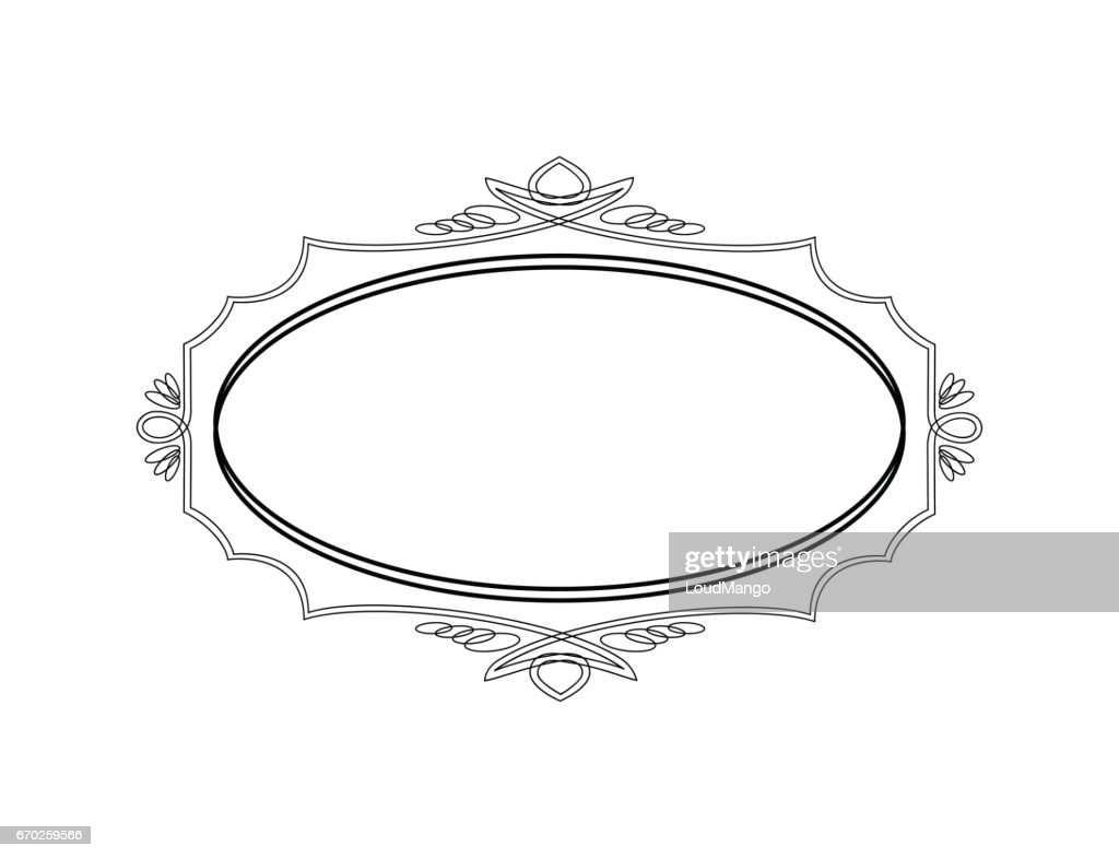 Vintage Calligraphic Frame - Round Decorative Floral Element with Flourishes