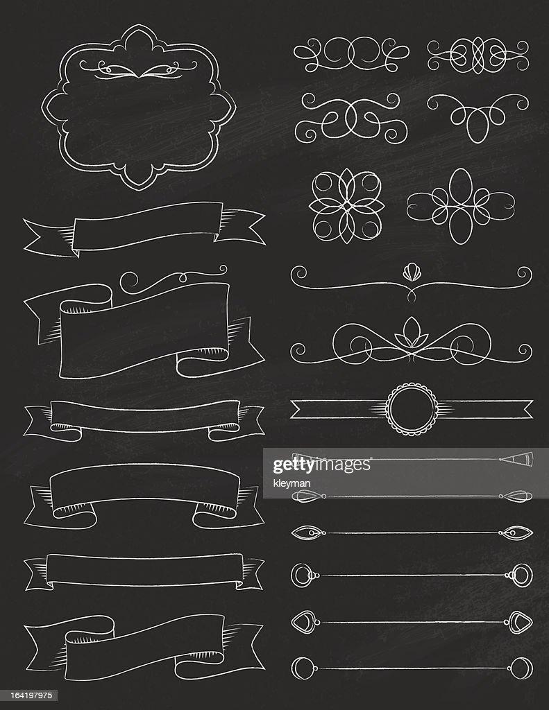 vintage calligraphy chalkboard design elements three vector art