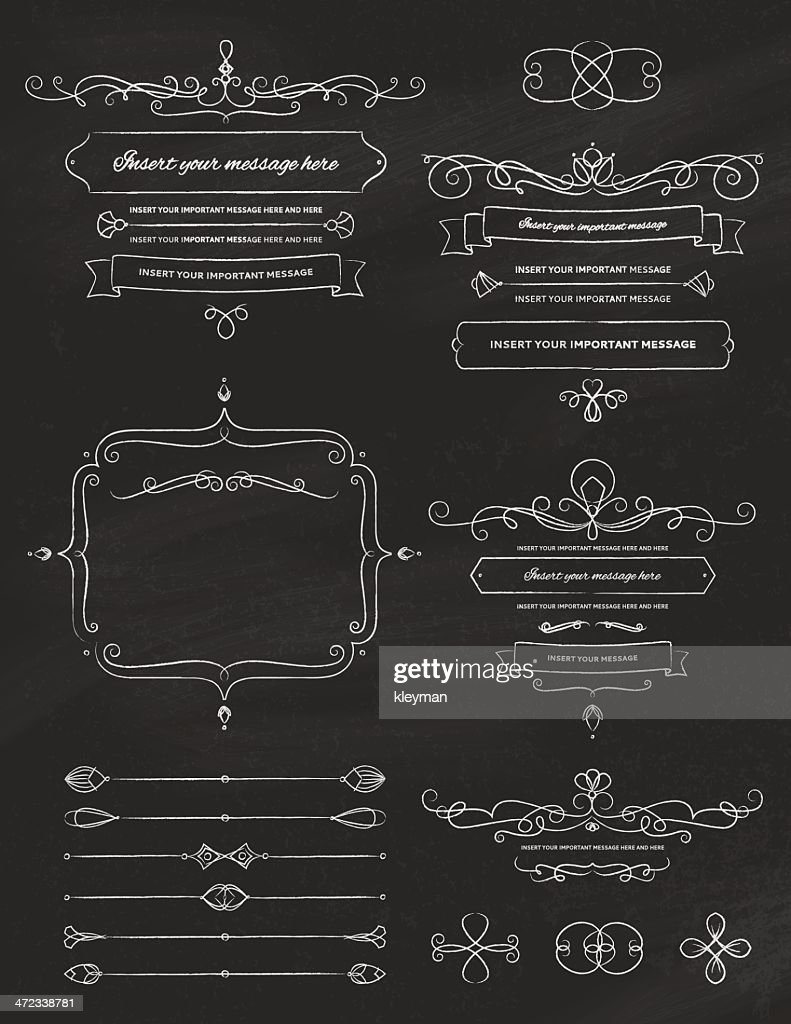 Vintage Calligraphy Chalkboard Design Elements Two