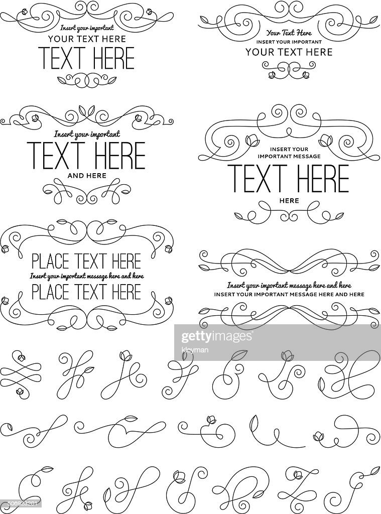 Vintage Calligraphy Flower Design Elements