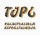 Vintage calligraphy typescript. English capital letters font, alphabet.