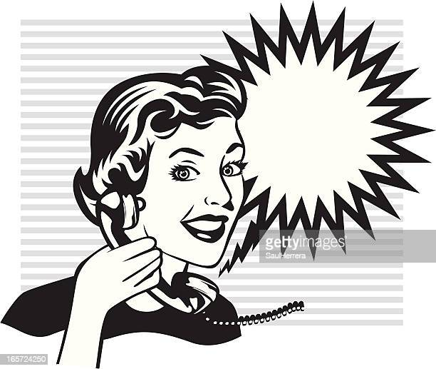 vintage calling woman - obsolete stock illustrations