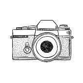 Vintage camera sketch illustration. Hand drawn vector outline drawing photography equipment