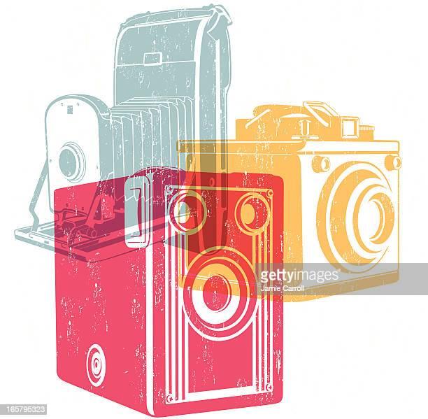 vintage cameras - large format camera stock illustrations, clip art, cartoons, & icons
