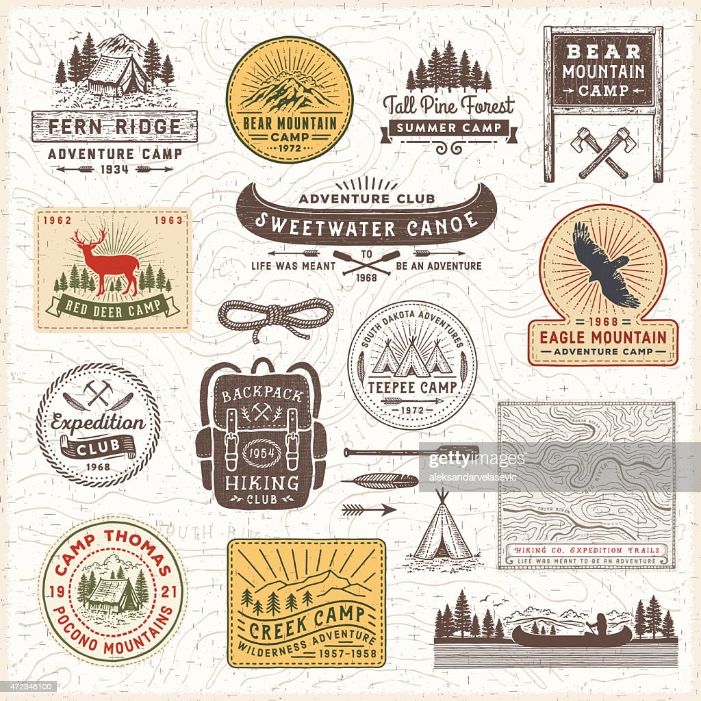 Vintage Camping Badges and Labels : stock illustration