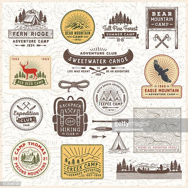 vintage camping badges and labels - tent stock illustrations, clip art, cartoons, & icons