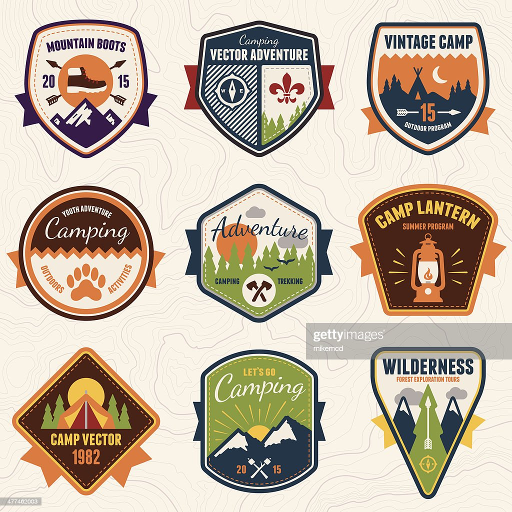Vintage camping, wilderness and adventure badges