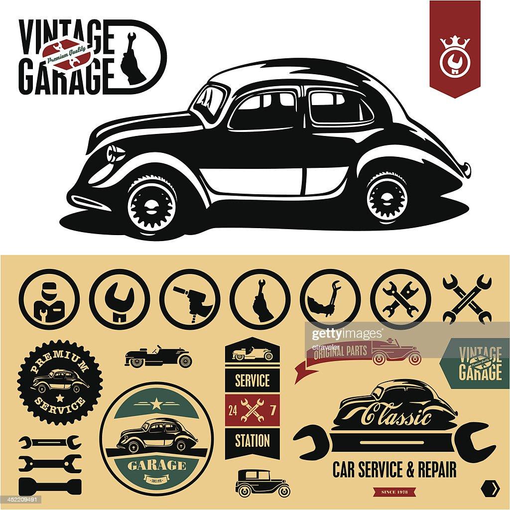 Vintage car garage labels