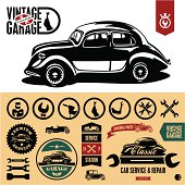 Vintage car garage labels
