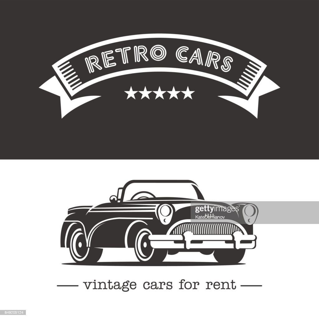 Vintage Car Monochrome Vector Icon Retro Cars For Rent Vector Art ...