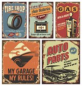 Vintage car service tin signs and posters