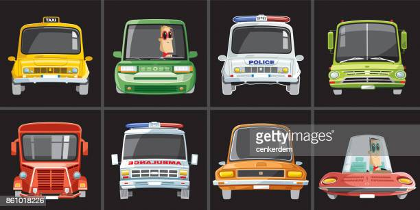 vintage car set - taxi stock illustrations, clip art, cartoons, & icons