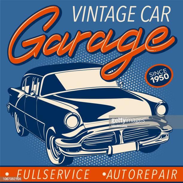 vintage car vector garage - vintage auto repair stock illustrations