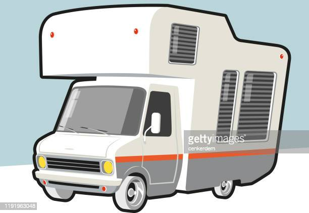 vintage caravan - car ownership stock illustrations, clip art, cartoons, & icons