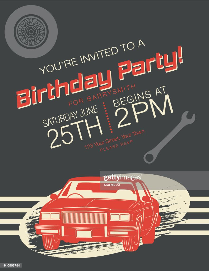 Vintage card birthday party invitation vector art getty images vintage card birthday party invitation vector art stopboris Images