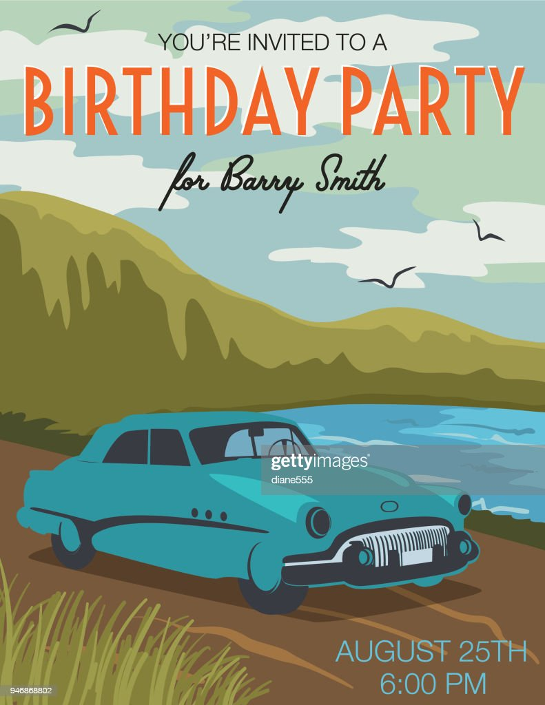 Vintage Card Birthday Party Invitation Vector Art