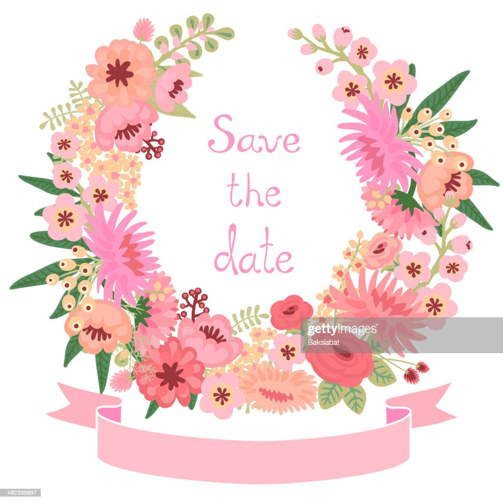Vintage Card With Floral Wreath Save The Date Vector Art Getty Images
