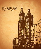 Vintage card with Krakow