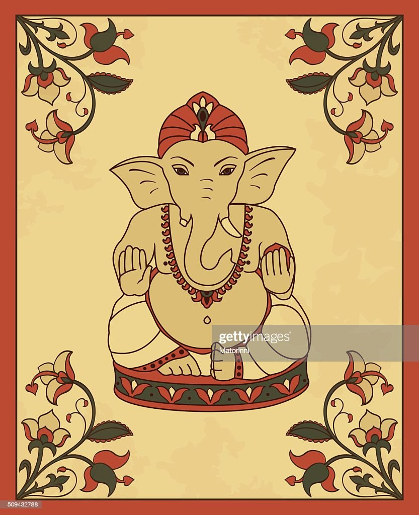Vintage card with Lord Ganesha.