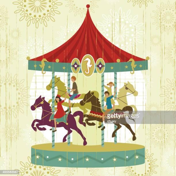 ilustraciones, imágenes clip art, dibujos animados e iconos de stock de vintage carrusel funfair - caballitos del tiovivo