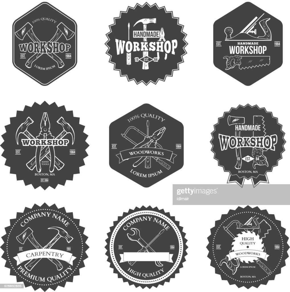 Vintage carpentry tools, labels and design elements vector