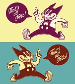 Vintage cartoon cat character, walking with speech bubble, 50s ads