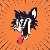 vintage cartoon character hungry crazy cat smiling with tongue out