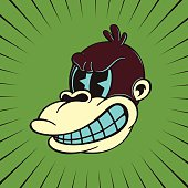 Vintage cartoon monkey character with angry face, 50s toons style