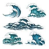 Vintage cartoon sea waves