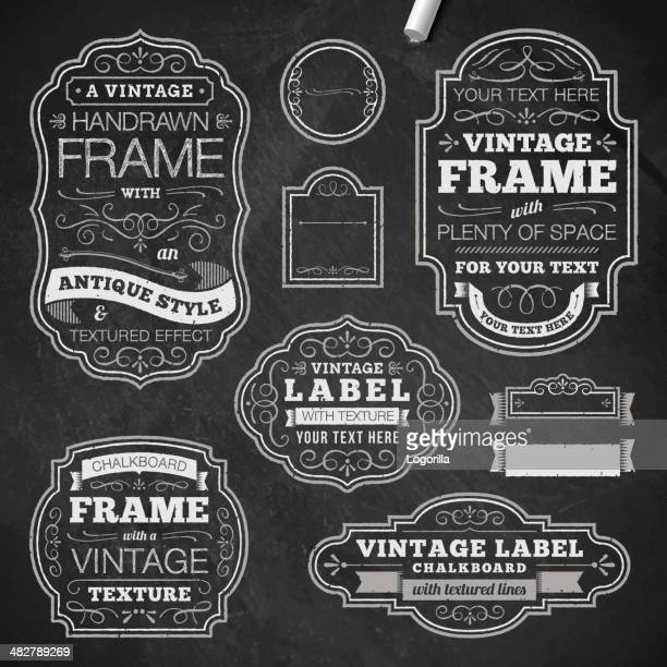 vintage chalk frames - chalk art equipment stock illustrations, clip art, cartoons, & icons