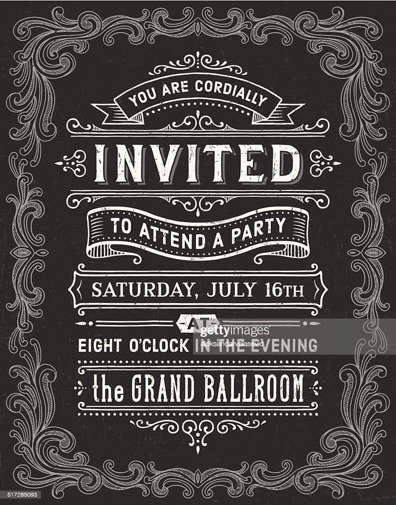 vintage chalkboard invitation vector art getty images