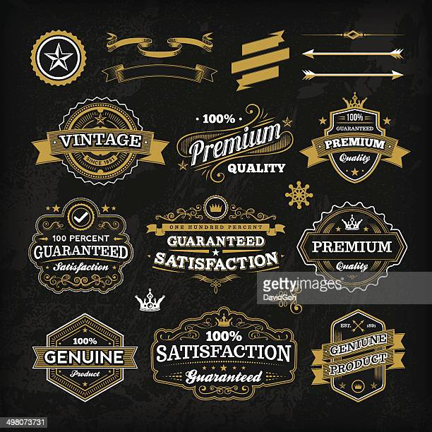 vintage chalkboard label set - banner sign stock illustrations