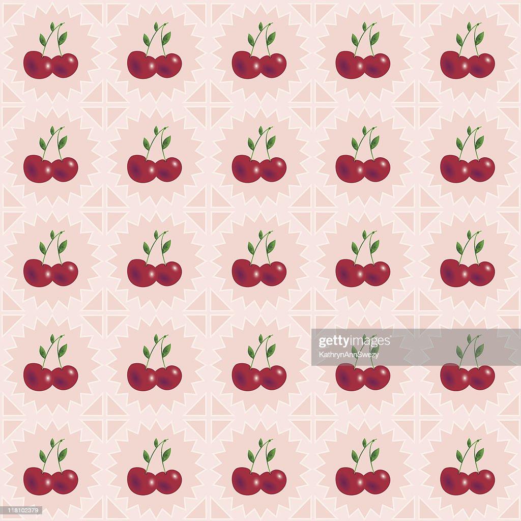 Vintage Cherries Pattern Vector Art