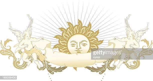 Emblema de sol vintage cherubs y decoración