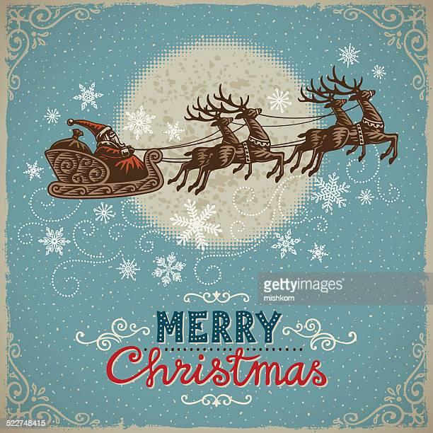ビンテージクリスマスの背景、サンタと reindeers - サンタ ソリ点のイラスト素材/クリップアート素材/マンガ素材/アイコン素材