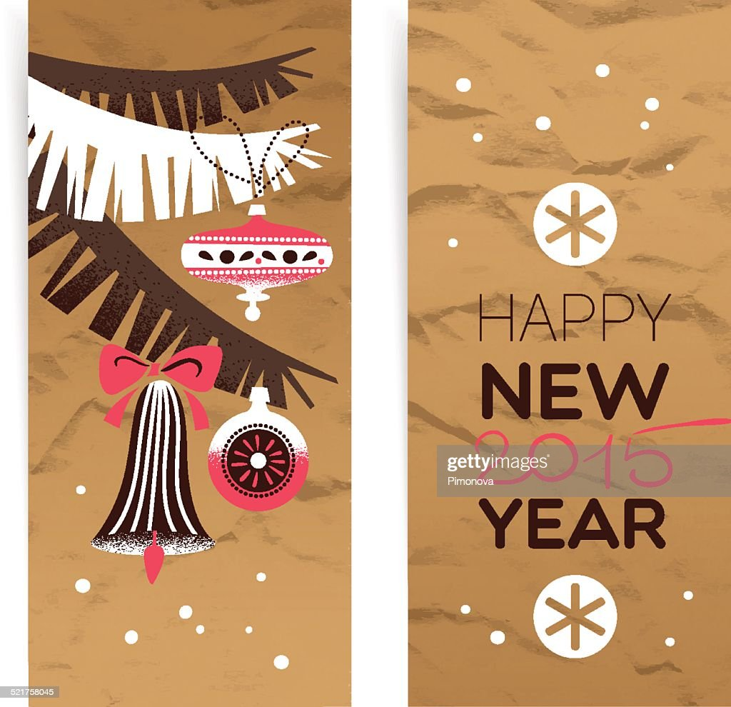 vintage christmas banner set happy new year cards vector art