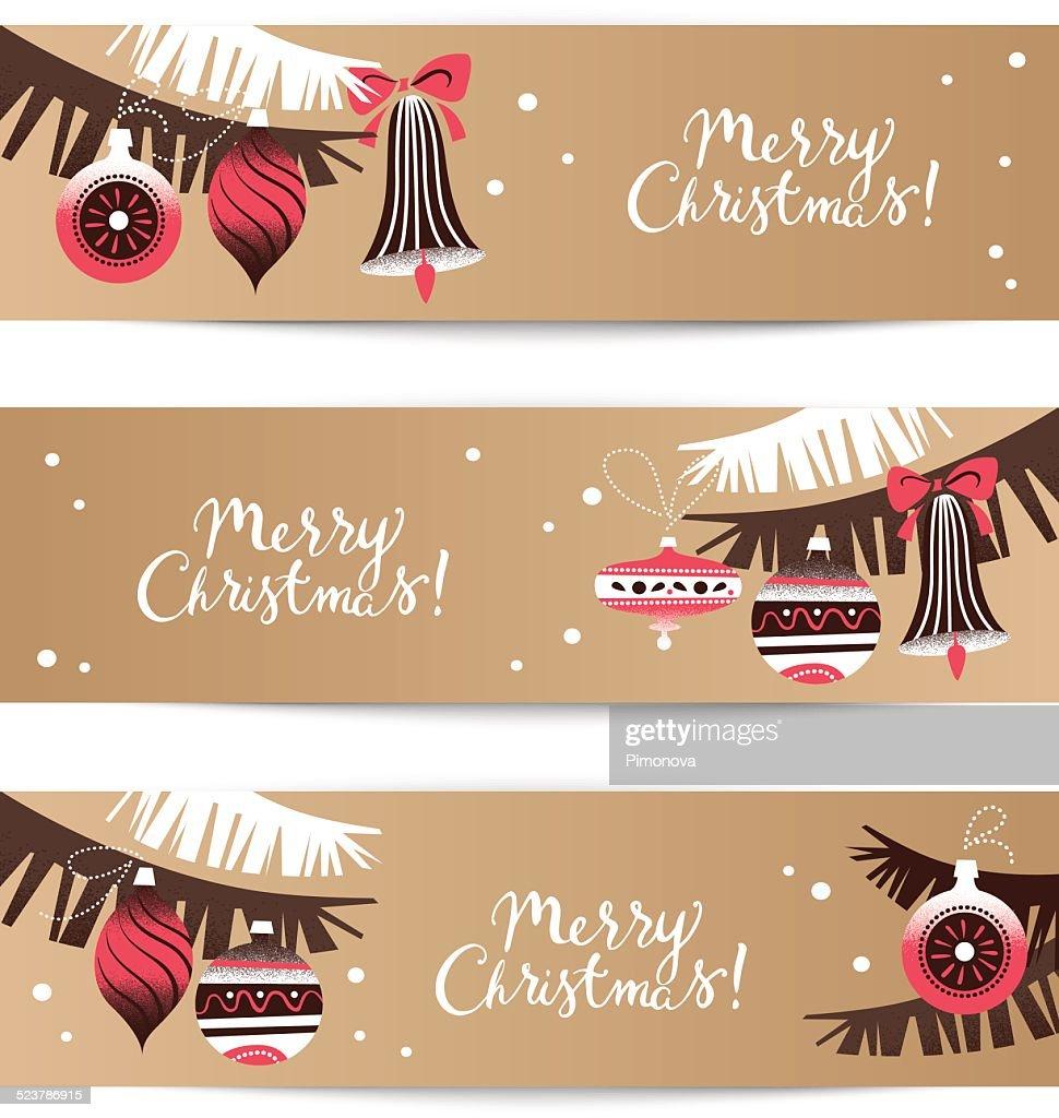 Vintage Christmas Bannerset Frohes Neues Jahrkarte Vektorgrafik ...