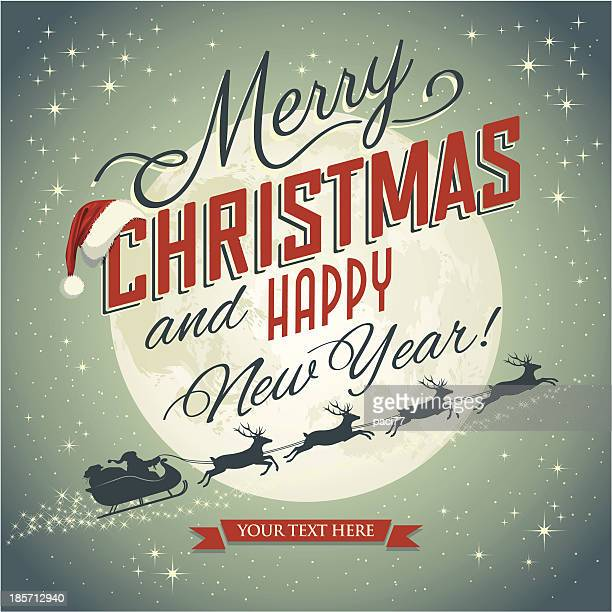 ビンテージクリスマスカード - サンタ ソリ点のイラスト素材/クリップアート素材/マンガ素材/アイコン素材