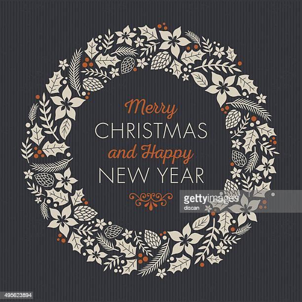 vintage christmas card - christmas wreath stock illustrations