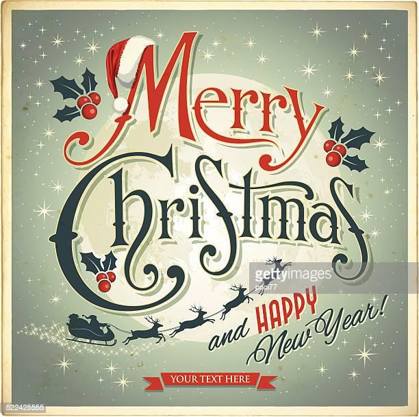 vintage christmas card - sleigh stock illustrations